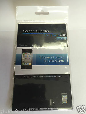 SCREEN GUARDER - 2 x DISPLAY SCREEN PROTECTOR - FOR iPhone 4/4s NEW