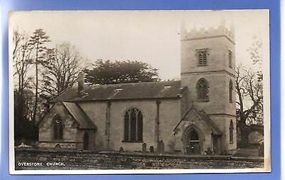 Old Vintage Rp Postcard Overstone Church Northamptonshire