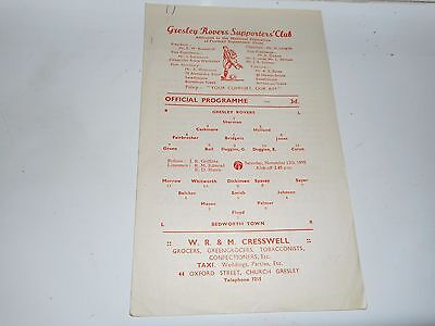 GRESLEY ROVERS   v  BEDWORTH TOWN  1955/6 BIRMINGHAM SENIOR CUP ~ NOVEMBER 12th