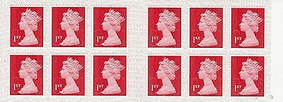 One Book of 1st Class Postage Stamps Unused Red Self Adhesive New