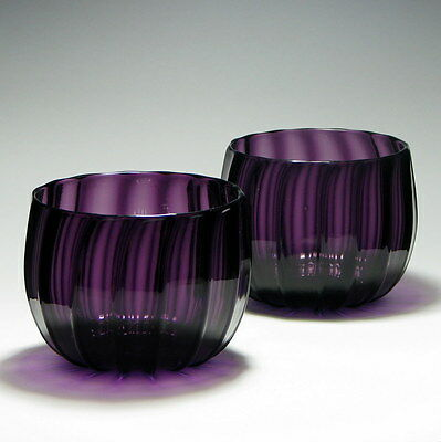 Pair of Victorian Ribbed Amethyst Glass Finger Bowls c1850