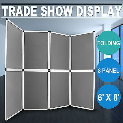 6'x8' Folding 8 Panels Trade Show Display Booth Screen Advertising  Panel Header