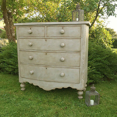 Antique Victorian Grey Hand Painted Tall Country Bow Fronted Chest of Drawers