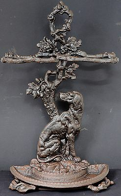 "ANTIQUE CAST IRON UMBRELLA STAND WITH DOG OAK TREE & DRIP TRAY 13kg H.28"" W.16"""
