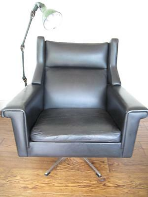 60s 70s CLASSIC RETRO BLACK LEATHER SWIVEL ARMCHAIR MID 20TH C DESIGN VINTAGE