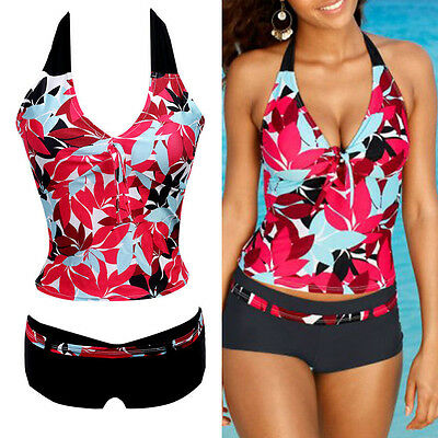 Women Ladies Bathers Tankini Push Up Bikini Swimwear Swimsuit Bathing Floral