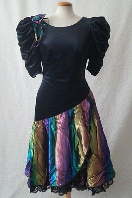 Vintage 80s black prom evening cocktail costume dress Size 8