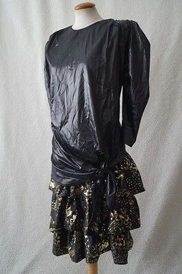 Vintage 80s black evening cocktail hen costume dress Size 12