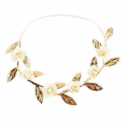 Princess Kids Baby Girl Rose Flower Leaf Headband Hair Band Headwear Golden Leaf