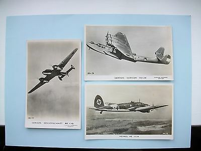 3 old postcards - German WW2 - Messerschmidt, Dornier & Heinkel