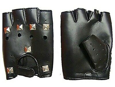 Fingerless Gloves with Square Studs. Faux Leather Punk Party Costume FREE POST