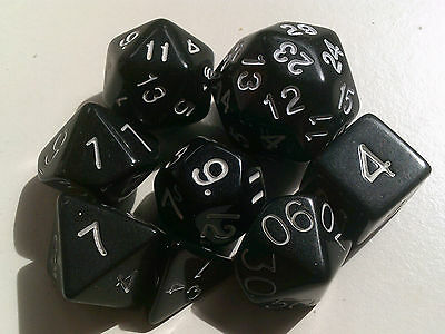 Set of 8 Dice for RPG games Dungeons & Dragons etc. Red Black Blue Green d30