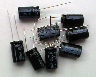 1000µF 25V High Temp Electrolytic Capacitors. 5, 10 or 20 pack. 1000uF Capacitor