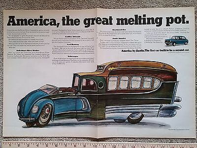 Two-Page Color Ad MG Austin Healey Car America the great Melting Pot