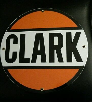 CLARK GASOLINE Oil Gas Round Porcelain Advertising sign....~12""
