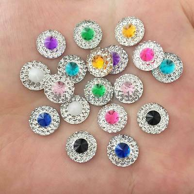 New 50 Pcs 10mm resin round Double color Flatback Rhinestone wedding buttons DIY