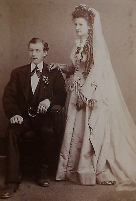 Cdv Photo Wedding Portrait Of A Beautiful Young Bride With Long Curls & Groom