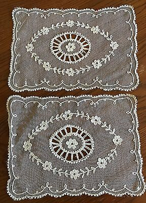Antique Tambour Net Lace Doilies Ecru 2- 9 X 12 In 1-11X11-1/2 Set Of Three