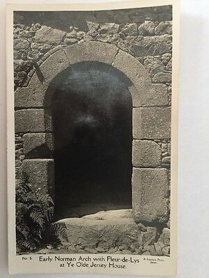 EARLY NORMAN ARCH WITH FLEUR DE LYS Jersey Channel Islands Postcard by A LAURENS