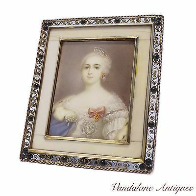 Antique early Victorian Royal miniature portrait painting Resch sterling frame