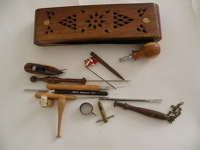 needlepins lacemaking antique vintage shuttle sundries pricker lace bobbin tools