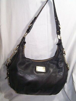 Michael Kors Black Leather Shoulder Bag Tote Purse Satchel
