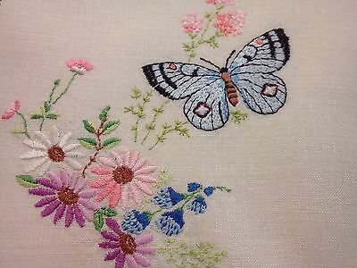 Vintage Irish Linen Hand Embroidered Traycloth Butterfly / Florals