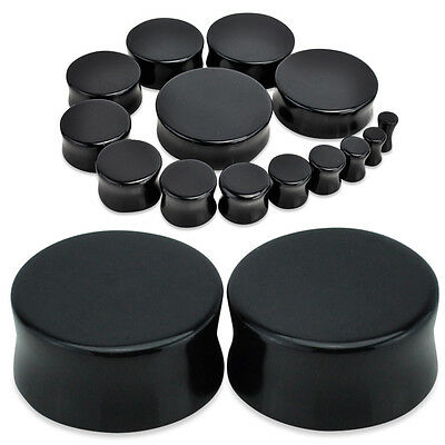 Black Acrylic Flesh Plug, Ear Stretcher, Double Flared Plugs, Order 2 For a Pair
