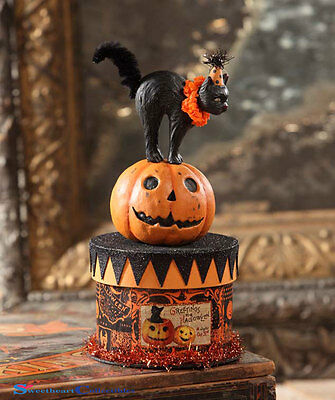 Bethany Lowe Halloween TP6183 Party Black Cat on Box Container 2017