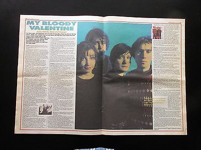 """MY BLOODY VALENTINE 1991 UK DOUBLE PAGE CENTRE SPREAD MAGAZINE CUTTING 22"""" x 16"""""""
