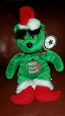 "Celebrity Bear #77 THE GRINCH-""WHO STOLE XMAS?"" ""YOU ARE A MEAN ONE!"" 10"""