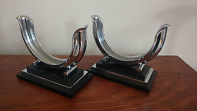 Rare Deco Chrome Dole Valve Co. Candlesticks Pair Machine Age