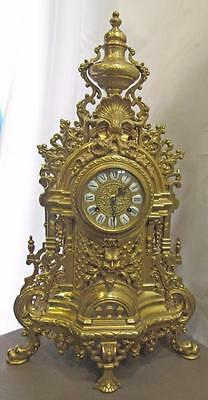 Vintage ITALIAN ROCOCO BRASS Imperial MANTEL CLOCK w/ FHJ German Movement