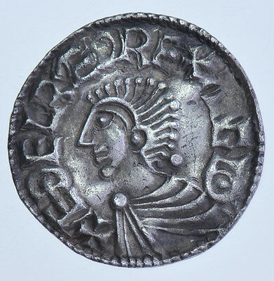 Aethelred Ii, Long Cross Penny, (978-1016), Exeter Mint,silver Hammered Coin