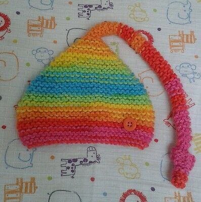 Knitted Baby Hat - Newborn Pixie Elf Rainbow - Perfect for Photo Shoot