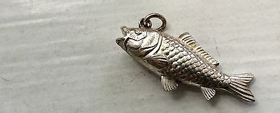 NICE ONE - 3D FISH Vintage Sterling Bracelet Charm  LARGE Trout Fishing