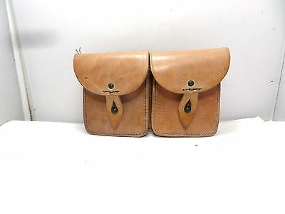 Old French Army Leather Ammo Double Belt Pouch