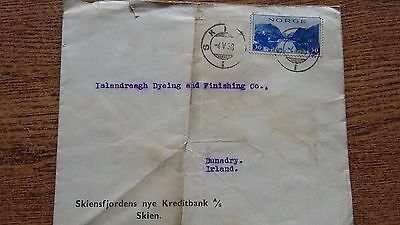 Norway Postage Stamps On Cover Envelope Skien Ireland Illustrated