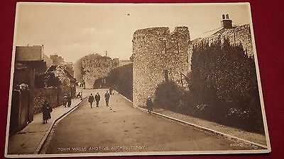 Tenby Pembrokeshire Wales Town Walls Five Arches Valentines Series Postcard