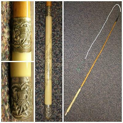 Antique 'Scottish' Detailed Thistle Design Handle-Holly Shaft-Driving Whip-130cm