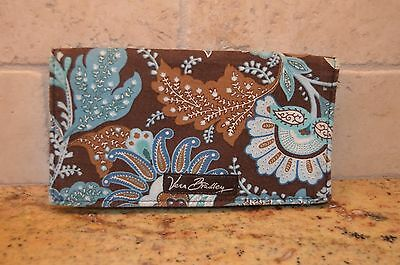 Vera Bradley Checkbook Cover in Java Blue Retired Pattern Brown and Teal Blue