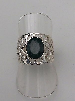 Silver Emerald Ring Real Stone And Patterned Sides