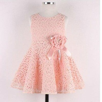 Toddler Kids Princess Girls Lace Floral Pageant Wedding Party Summer Tutu Dress
