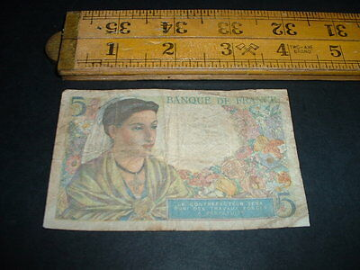Ww2 France 5 Francs 1943 Banknote Get What You See In Picture