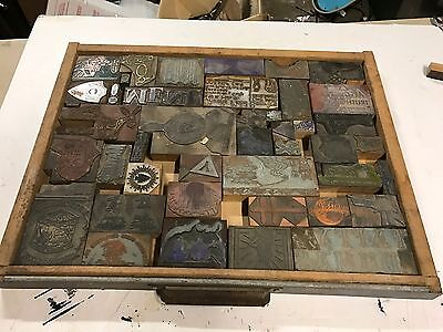 Lot Of Approx 78 Vintage Letterpress Printers Blocks