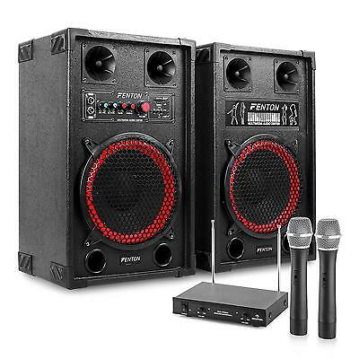 Powerful Karaoke Pa System 600W Active Speakers Wireless Mics Small Disco Party