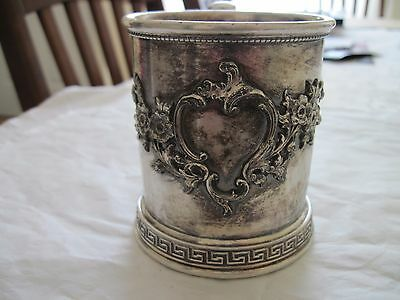 antique silverplate REED & BARTON #210 C child's cup/mug,applied ornate trim