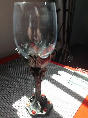 Wine Goblet With Metal Base Surrounded By Dragons, Myths And Legends