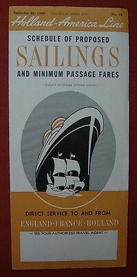 1949 HOLLAND AMERICAN LINE Proposed SAILINGS & Passage FARES