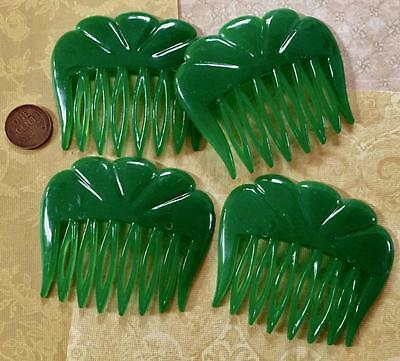 Vintage Unused Stock Green Plastic Hair Combs w Scalloped Top W. Germany 4